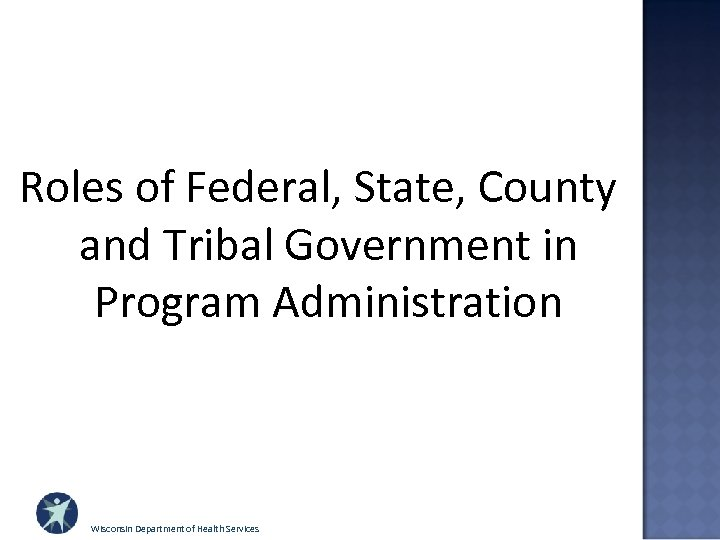 Roles of Federal, State, County and Tribal Government in Program Administration Wisconsin Department of