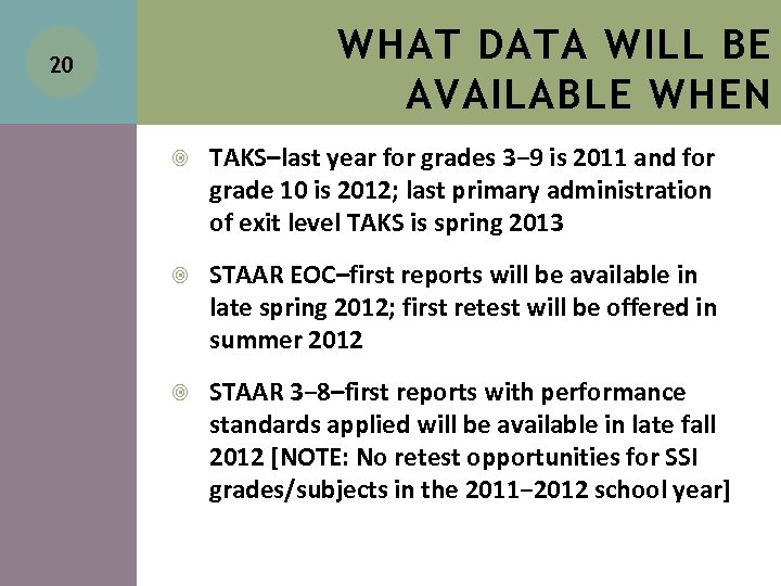 WHAT DATA WILL BE AVAILABLE WHEN 20 TAKS–last year for grades 3− 9 is