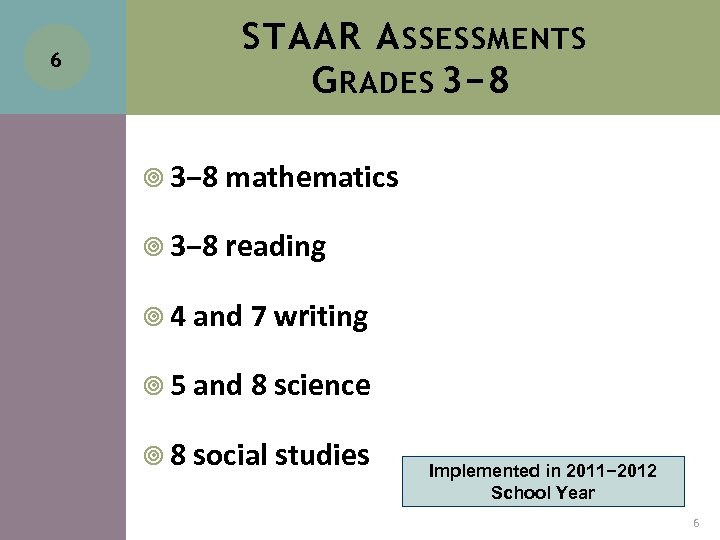 6 STAAR A SSESSMENTS G RADES 3− 8 mathematics 3− 8 reading 4 and