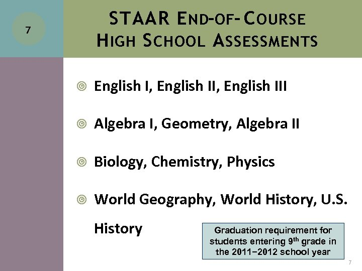 STAAR E ND-OF- C OURSE H IGH S CHOOL A SSESSMENTS 7 English I,