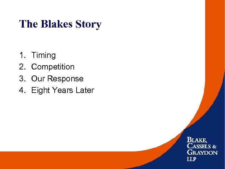 The Blakes Story 1. 2. 3. 4. Timing Competition Our Response Eight Years Later