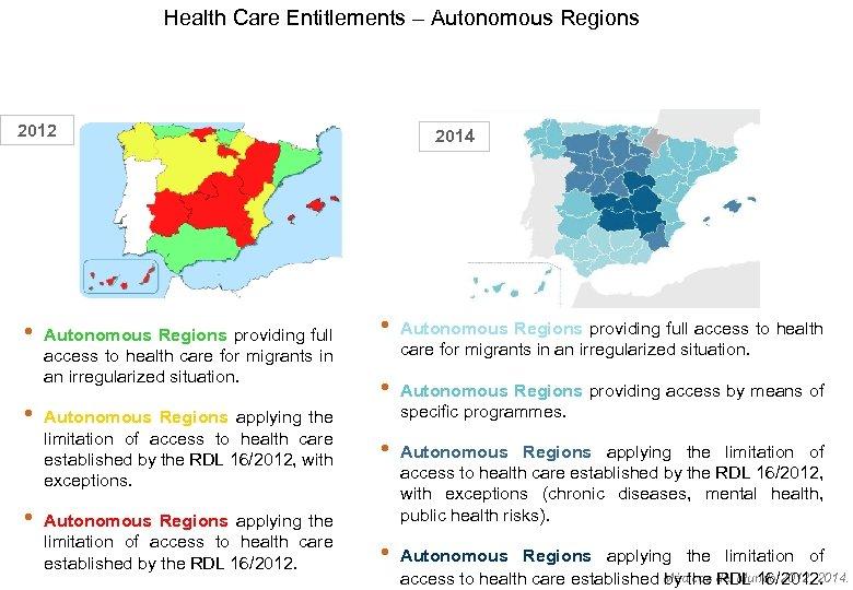 Health Care Entitlements – Autonomous Regions 2012 • • • Autonomous Regions providing full