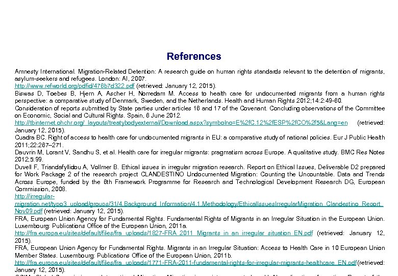 References Amnesty International. Migration-Related Detention: A research guide on human rights standards relevant to