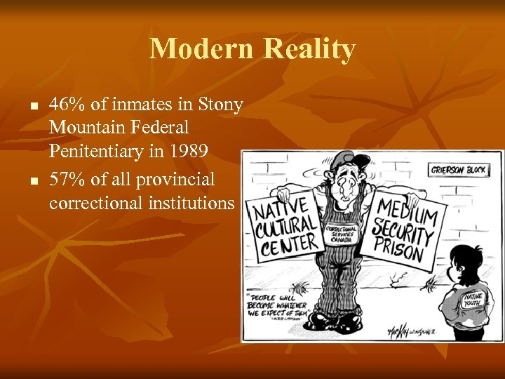 Modern Reality n n 46% of inmates in Stony Mountain Federal Penitentiary in 1989