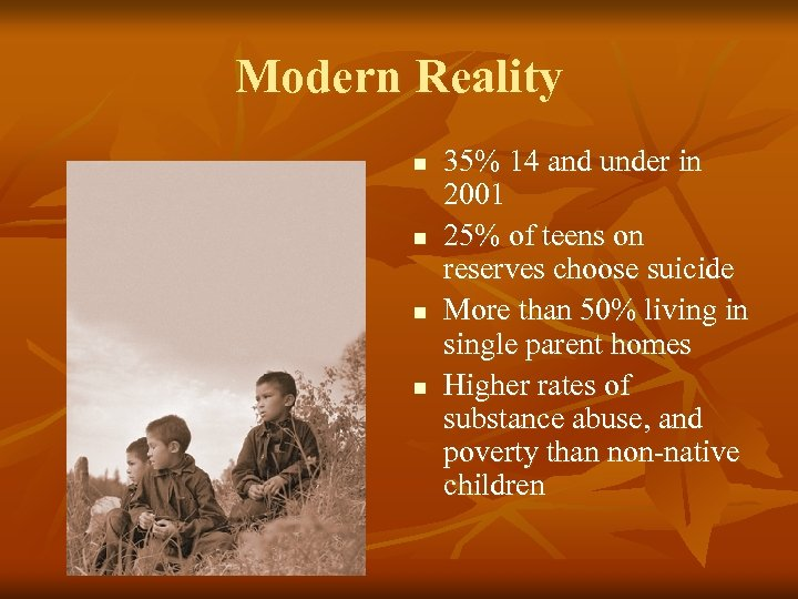 Modern Reality n n 35% 14 and under in 2001 25% of teens on