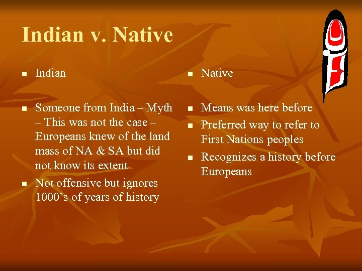 Indian v. Native n n n Indian Someone from India – Myth – This