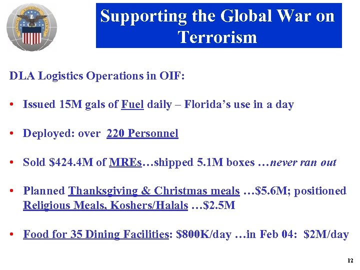 Supporting the Global War on Terrorism DLA Logistics Operations in OIF: • Issued 15