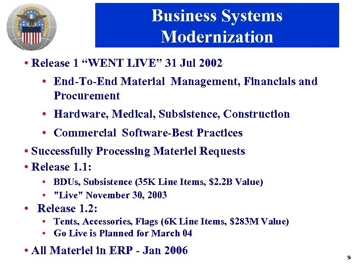 "Business Systems Modernization • Release 1 ""WENT LIVE"" 31 Jul 2002 • End-To-End Material"