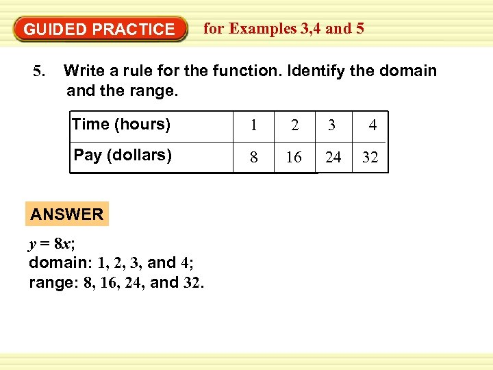 GUIDED PRACTICE 5. for Examples 3, 4 and 5 Write a rule for the