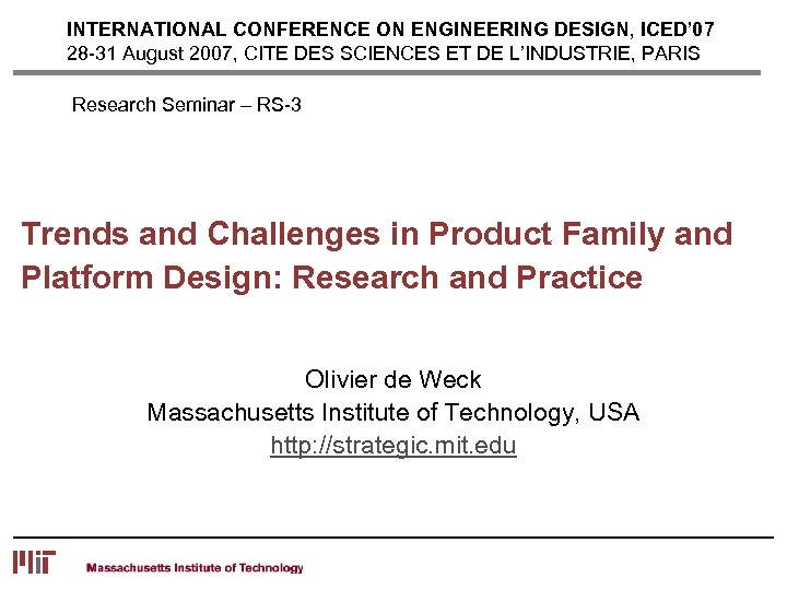 International Conference On Engineering Design Iced 07 28