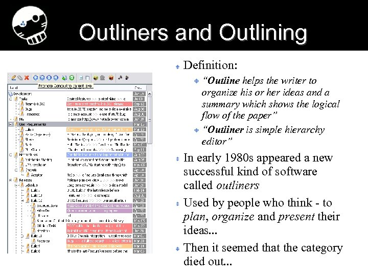 "Outliners and Outlining Definition: ""Outline helps the writer to organize his or her ideas"