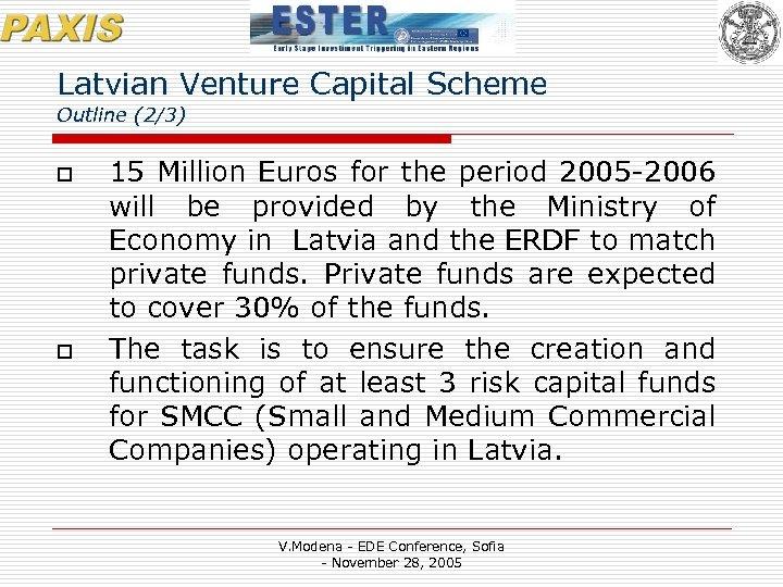 Latvian Venture Capital Scheme Outline (2/3) o o 15 Million Euros for the period