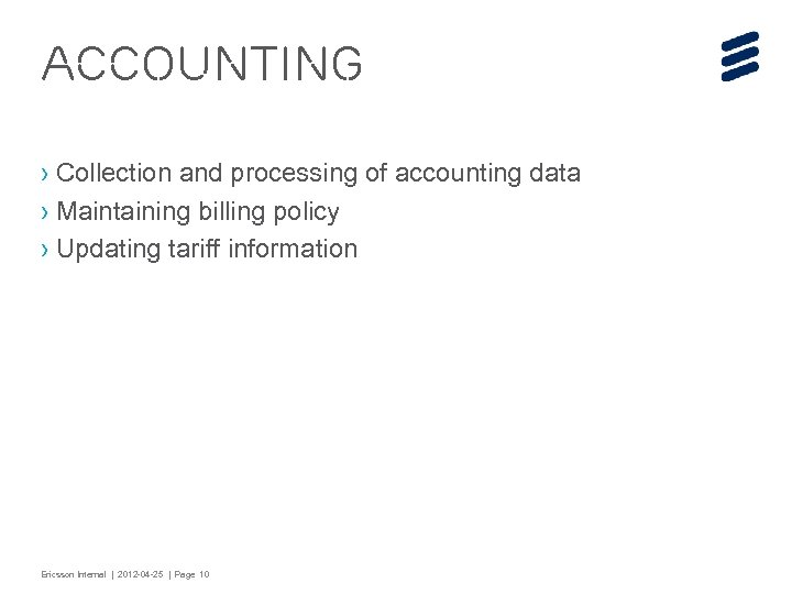 Accounting › Collection and processing of accounting data › Maintaining billing policy › Updating