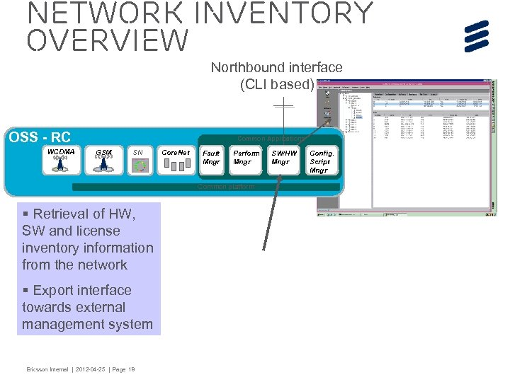 Network Inventory Overview Northbound interface (CLI based) OSS - RC WCDMA Common Applications GSM