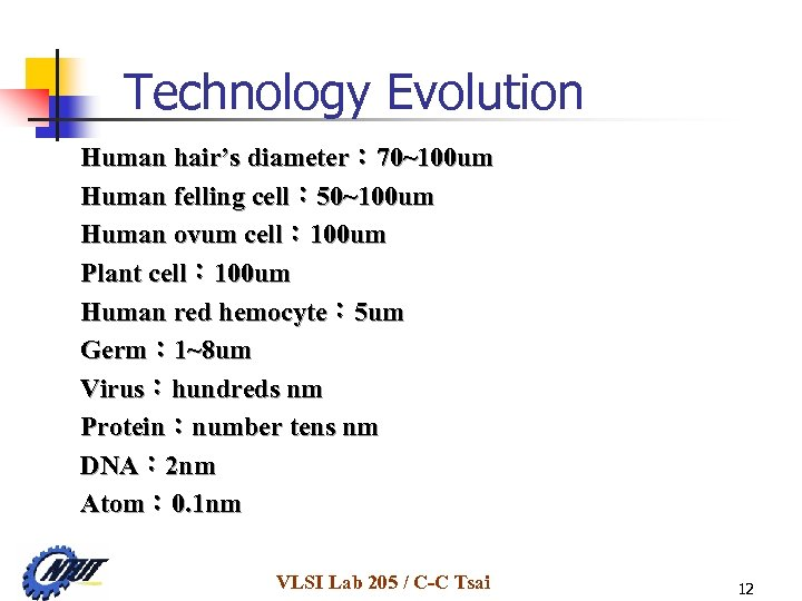 Technology Evolution Human hair's diameter: 70~100 um Human felling cell: 50~100 um Human ovum