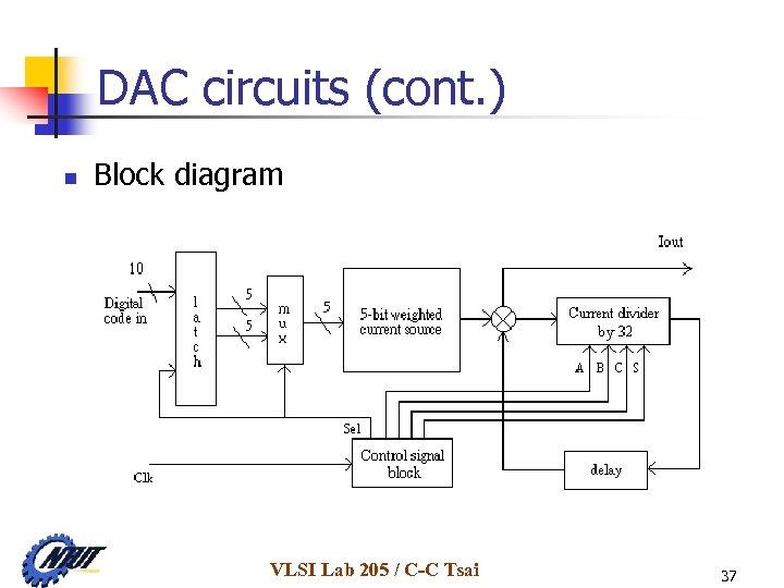 DAC circuits (cont. ) n Block diagram VLSI Lab 205 / C-C Tsai 37