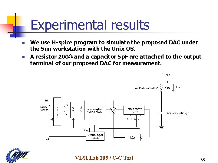 Experimental results n n We use H-spice program to simulate the proposed DAC under