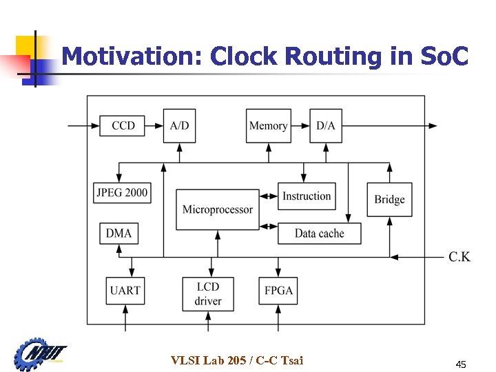 Motivation: Clock Routing in So. C VLSI Lab 205 / C-C Tsai 45