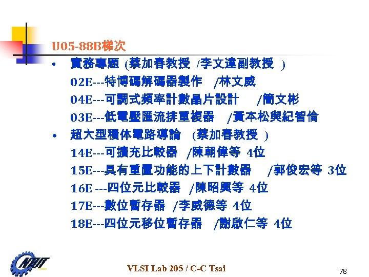 U 05 -88 B梯次 • 實務專題 (蔡加春教授 /李文達副教授 ) 02 E---特博碼解碼器製作 /林文威 04 E---可調式頻率計數晶片設計