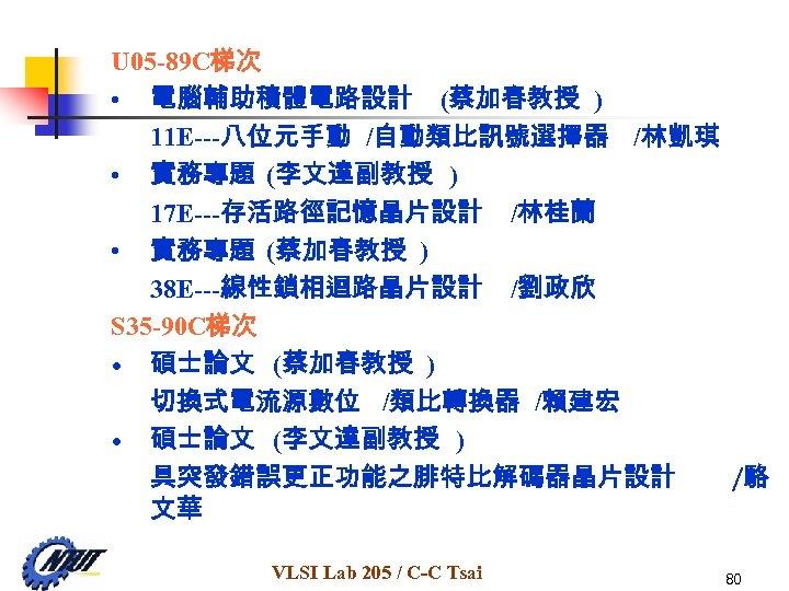 U 05 -89 C梯次 • 電腦輔助積體電路設計 (蔡加春教授 ) 11 E---八位元手動 /自動類比訊號選擇器 /林凱琪 • 實務專題
