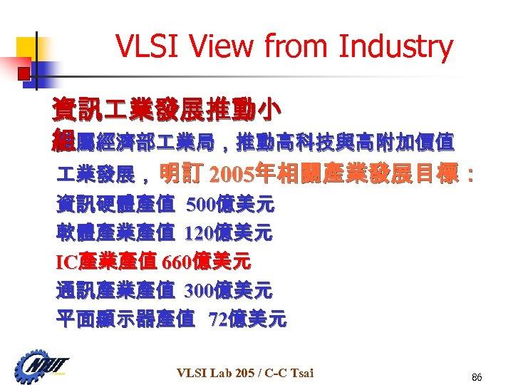 VLSI View from Industry 資訊 業發展推動小 隸屬經濟部 業局,推動高科技與高附加價值 組 業發展, 明訂 2005年相關產業發展目標: 資訊硬體產值 500億美元