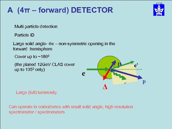 A (4π – forward) DETECTOR Multi particle detection Particle ID Large solid angle- 4π