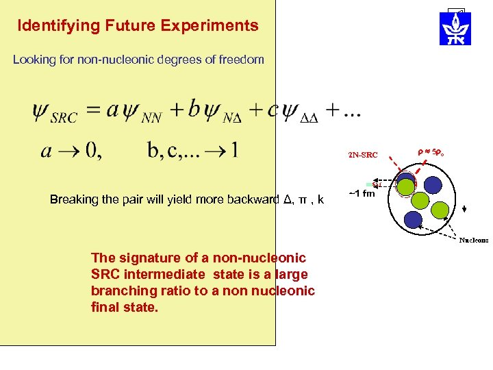 Identifying Future Experiments Looking for non-nucleonic degrees of freedom 2 N-SRC 5 o 1.