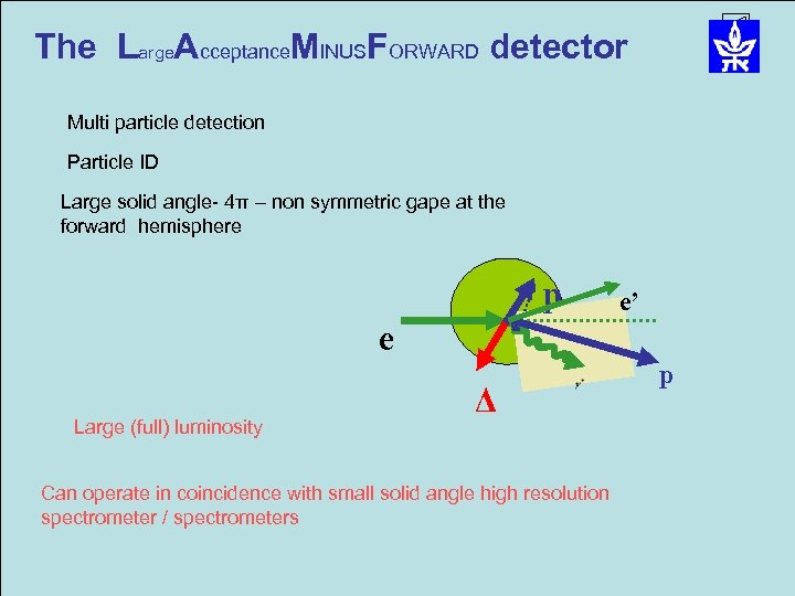 The Large. Acceptance. MINUSFORWARD detector Multi particle detection Particle ID Large solid angle- 4π