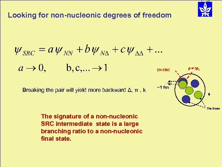 Looking for non-nucleonic degrees of freedom 2 N-SRC 5 o 1. f Breaking the