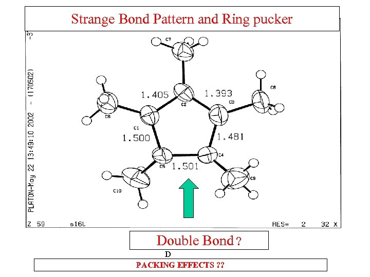 Strange Bond Pattern and Ring pucker D o D PACKING EFFECTS ? ? Double