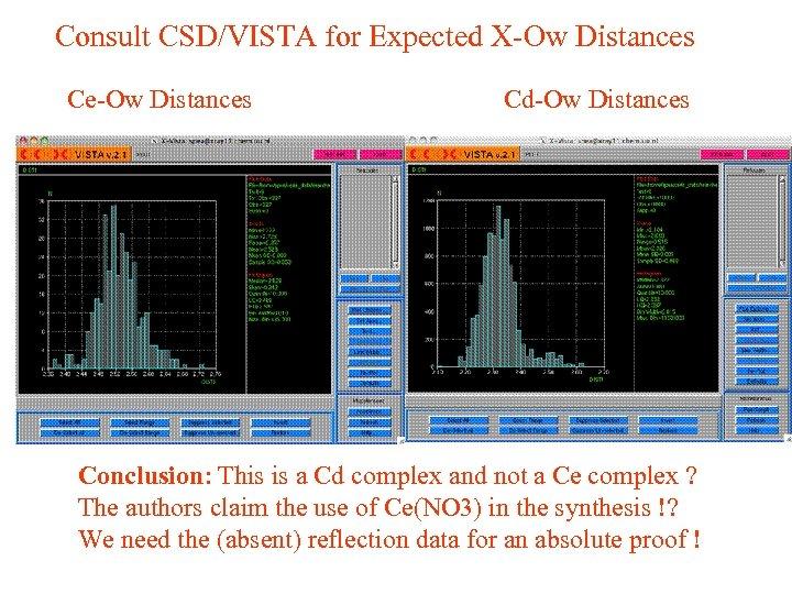 Consult CSD/VISTA for Expected X-Ow Distances Ce-Ow Distances Cd-Ow Distances Conclusion: This is a