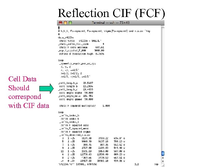 Reflection CIF (FCF) Cell Data Should correspond with CIF data