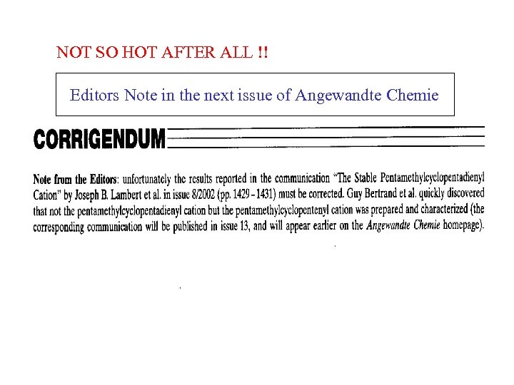 NOT SO HOT AFTER ALL !! Editors Note in the next issue of Angewandte