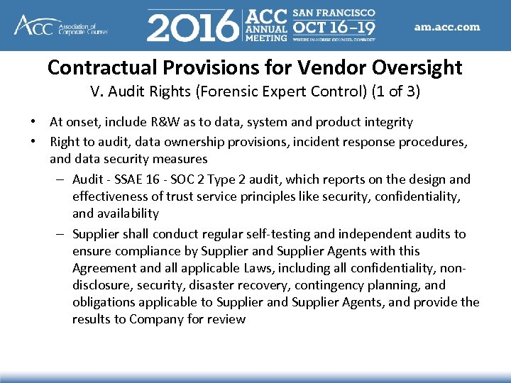 Contractual Provisions for Vendor Oversight V. Audit Rights (Forensic Expert Control) (1 of 3)
