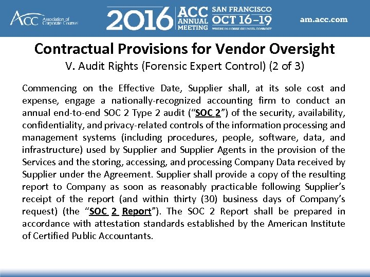Contractual Provisions for Vendor Oversight V. Audit Rights (Forensic Expert Control) (2 of 3)