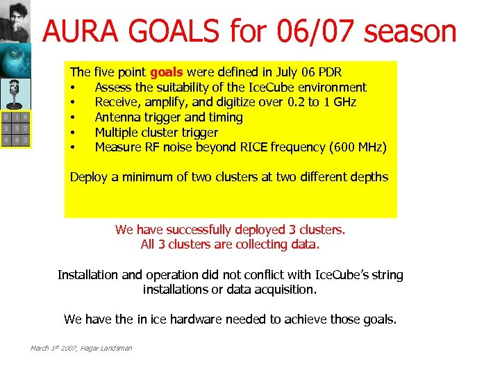 AURA GOALS for 06/07 season The • • • five point goals were defined