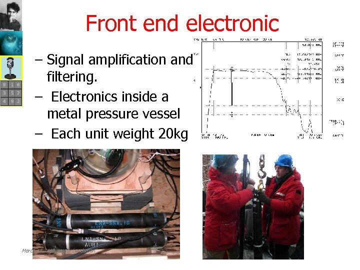Front end electronic − Signal amplification and filtering. − Electronics inside a metal pressure