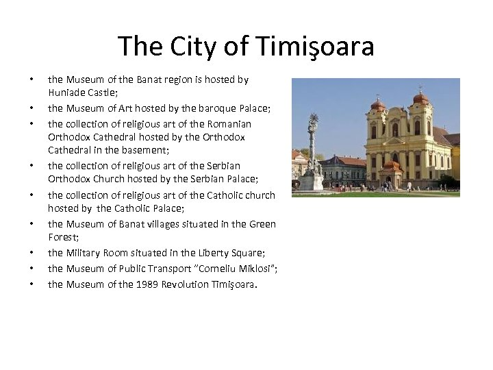 The City of Timişoara • • • the Museum of the Banat region is
