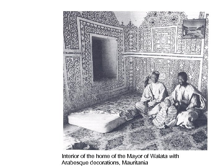 Interior of the home of the Mayor of Walata with Arabesque decorations, Mauritania