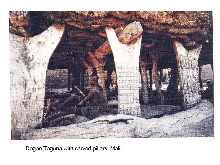 Dogon Toguna with carved pillars, Mali