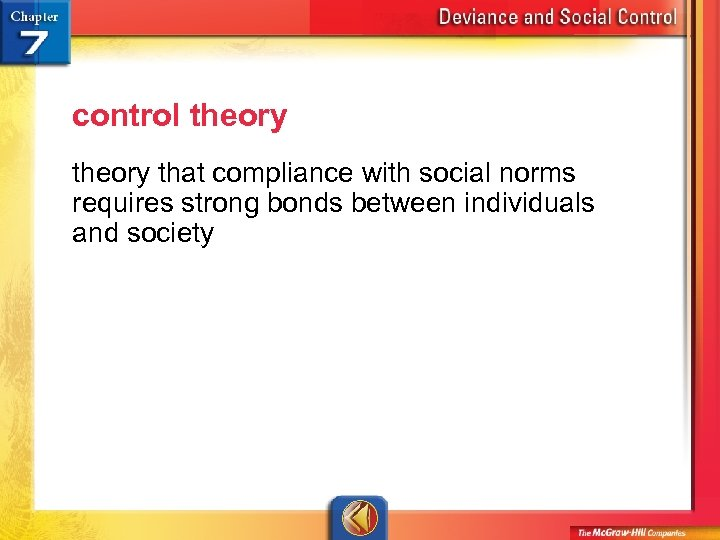 control theory that compliance with social norms requires strong bonds between individuals and society