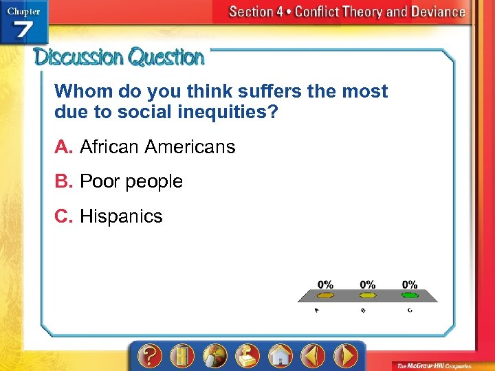 Whom do you think suffers the most due to social inequities? A. African Americans