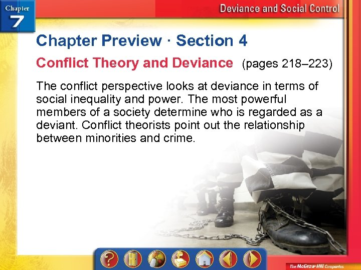 Chapter Preview · Section 4 Conflict Theory and Deviance (pages 218– 223) The conflict