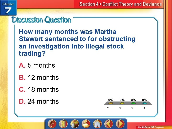 How many months was Martha Stewart sentenced to for obstructing an investigation into illegal