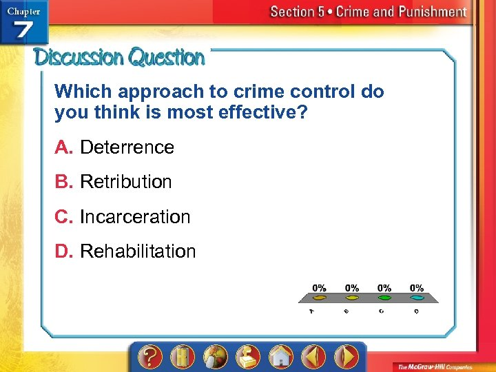 Which approach to crime control do you think is most effective? A. Deterrence B.