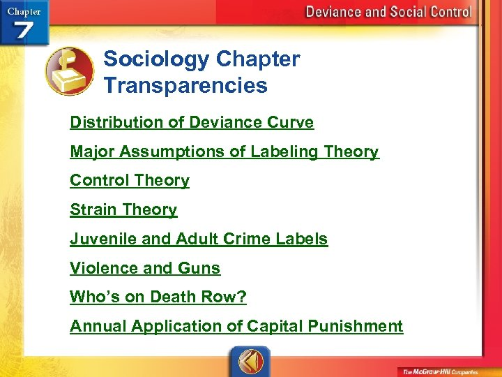 Sociology Chapter Transparencies Distribution of Deviance Curve Major Assumptions of Labeling Theory Control Theory