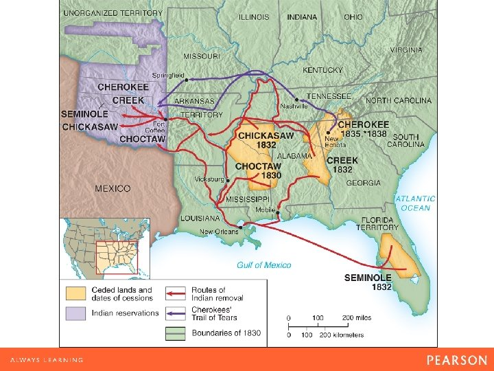 Map 10. 2 Indian Removal Because so many Native Americans, uprooted from their lands
