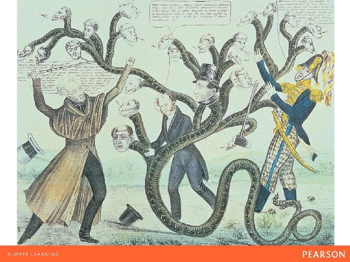 A Hydra-Headed Bank Aided by Van Buren (center), Jackson wields his veto rod against