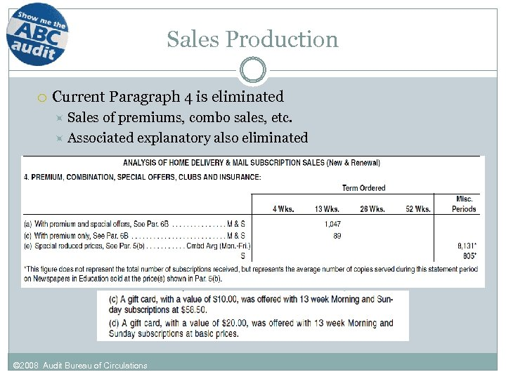 Sales Production Current Paragraph 4 is eliminated Sales of premiums, combo sales, etc. Associated