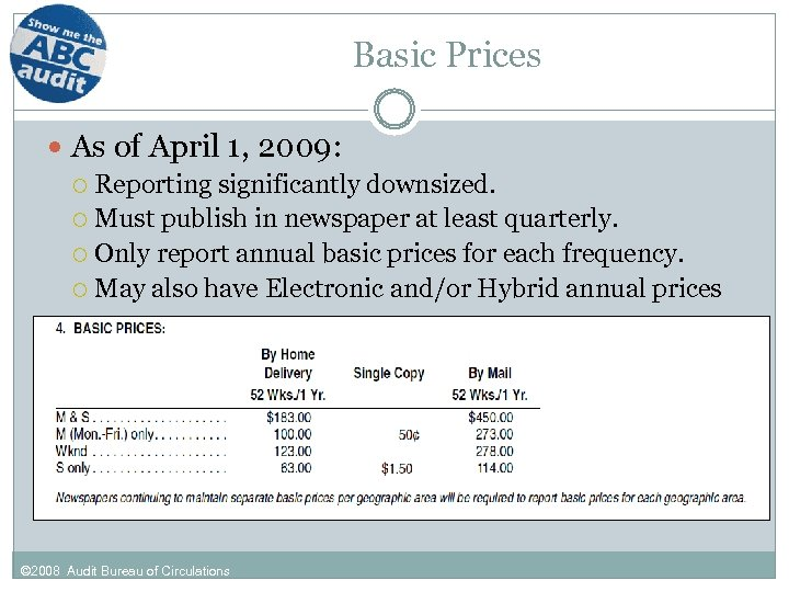Basic Prices As of April 1, 2009: Reporting significantly downsized. Must publish in newspaper